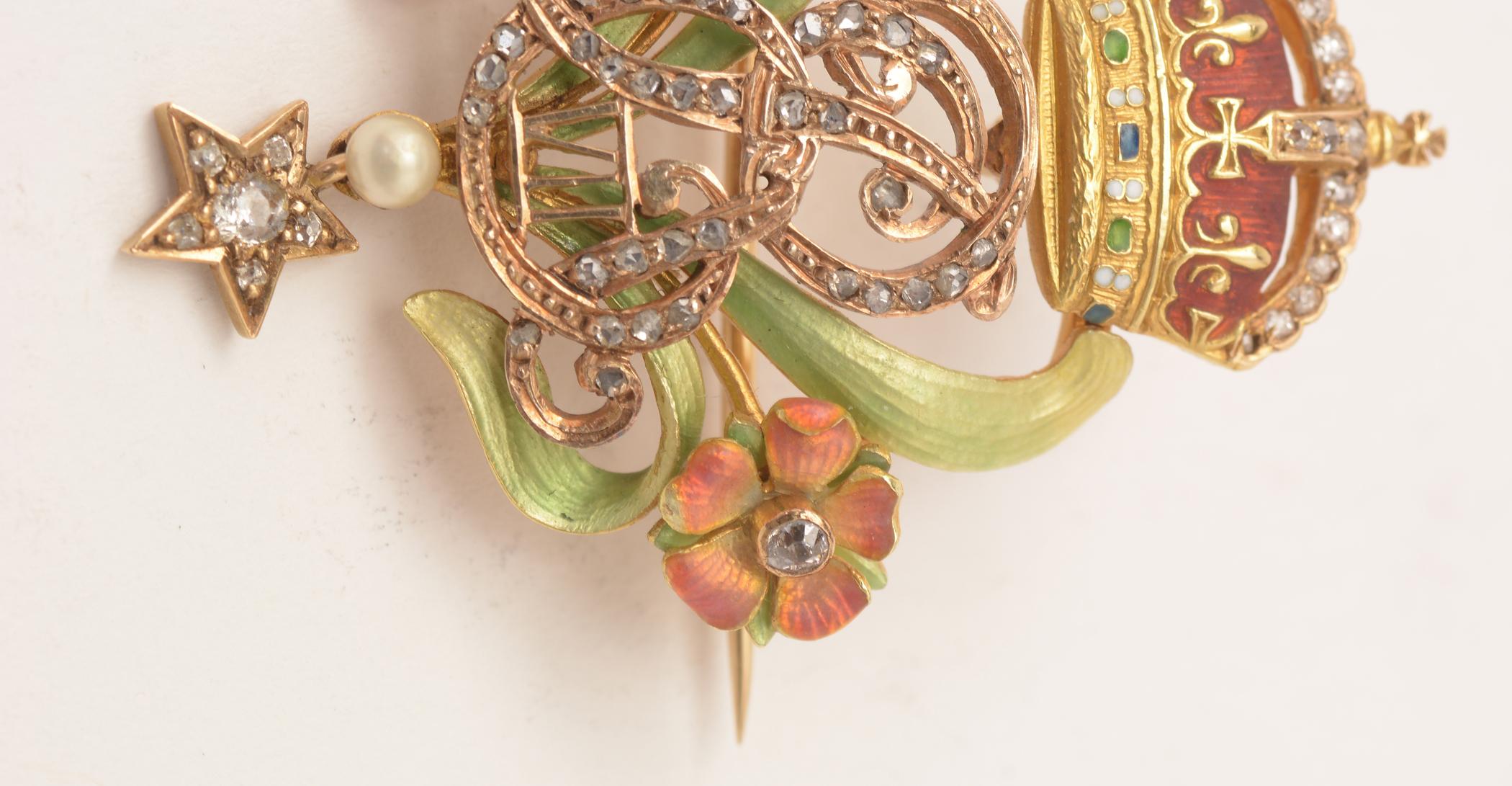 Lot 507 - Edward VII enamel and diamond 18ct brooch, in box