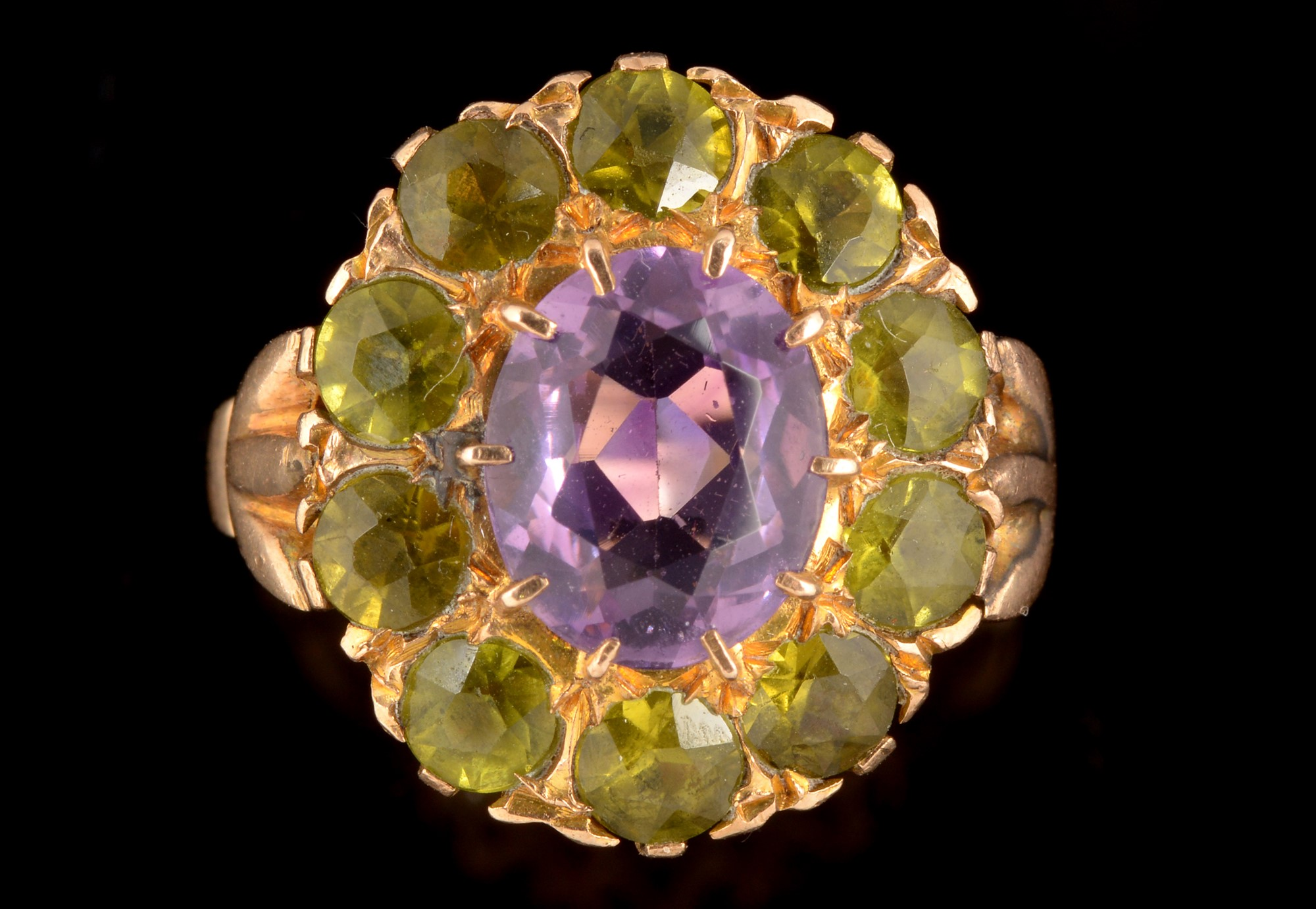 Lot 503 - Amethyst and peridot cluster ring