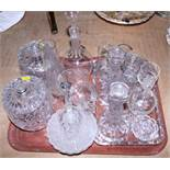 Two Irish? cut glass biscuit barrels together with various other glassware