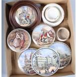Three 19th century pot lids and three later pot lids