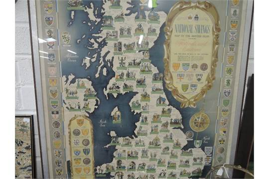 A framed map The National Savings Map of the British Isles