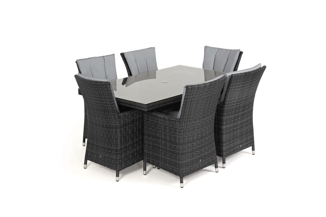 Rattan LA 6 Seat Rectangular Dining Set With Parasol (Grey) *BRAND NEW* - Image 2 of 3