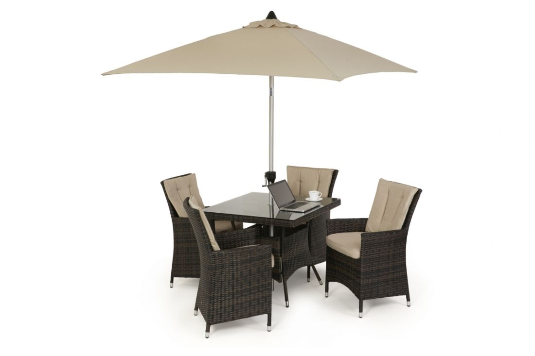 Rattan LA 4 Seat Square Dining Set With Parasol (Brown) *BRAND NEW*