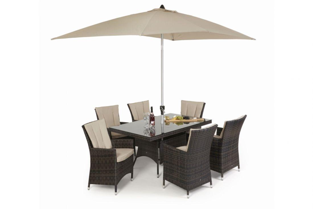 Rattan LA 6 Seat Rectangular Dining Set With Parasol (Brown) *BRAND NEW*