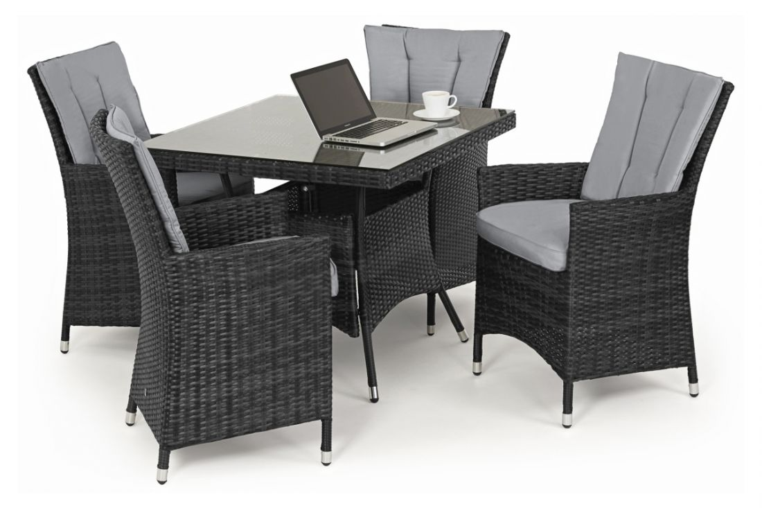 *** RESERVE MET ***Rattan LA 4 Seat Square Dining Set With Parasol (Grey) *BRAND NEW* - Image 2 of 3