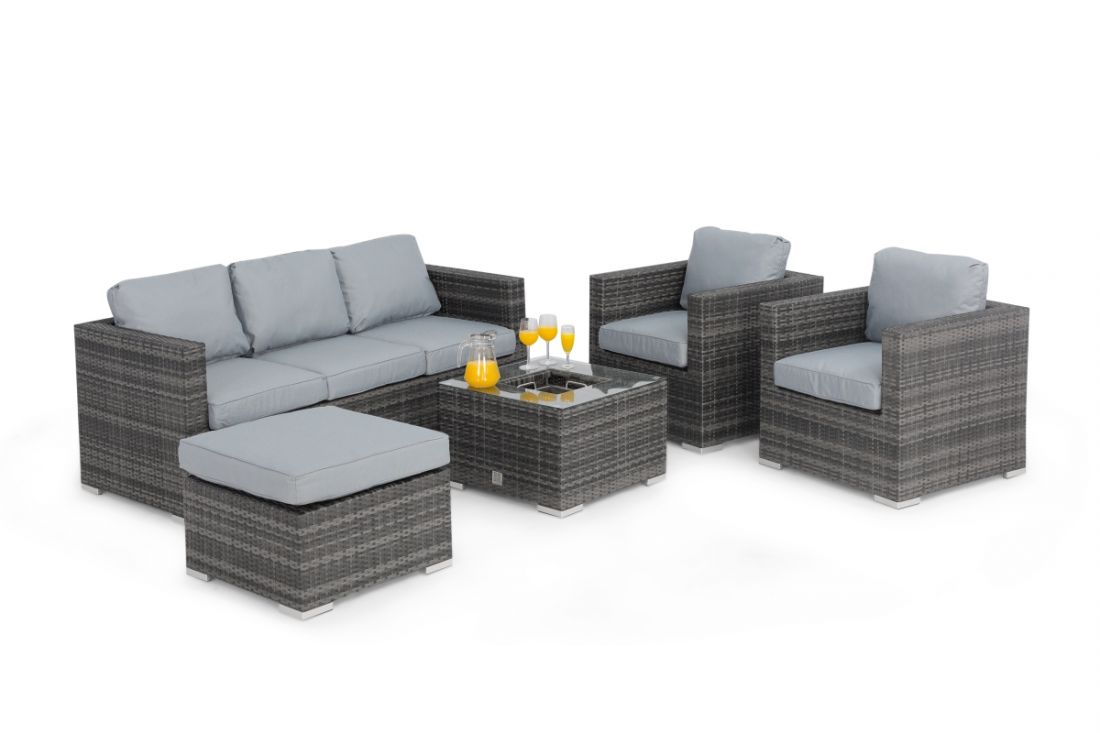 *RESERVE MET* Rattan Georgia 3 Seat Sofa Set With Ice Bucket Feature (Grey) *BRAND NEW* - Image 3 of 4