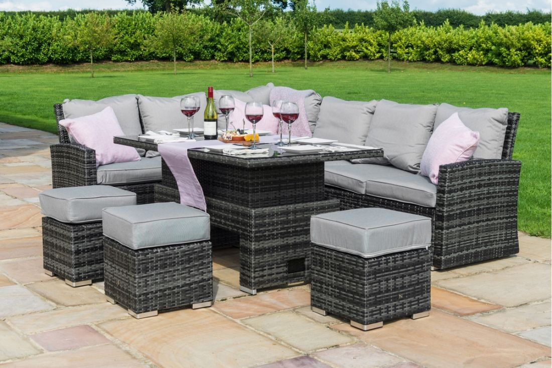 **RESERVE MET**Rattan Kingston Corner Dining Set With Rising Table (Grey) *BRAND NEW* - Image 3 of 5