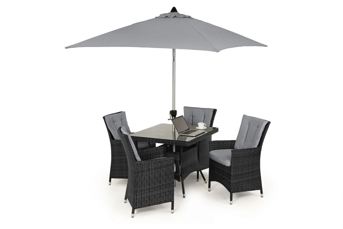 *** RESERVE MET ***Rattan LA 4 Seat Square Dining Set With Parasol (Grey) *BRAND NEW*