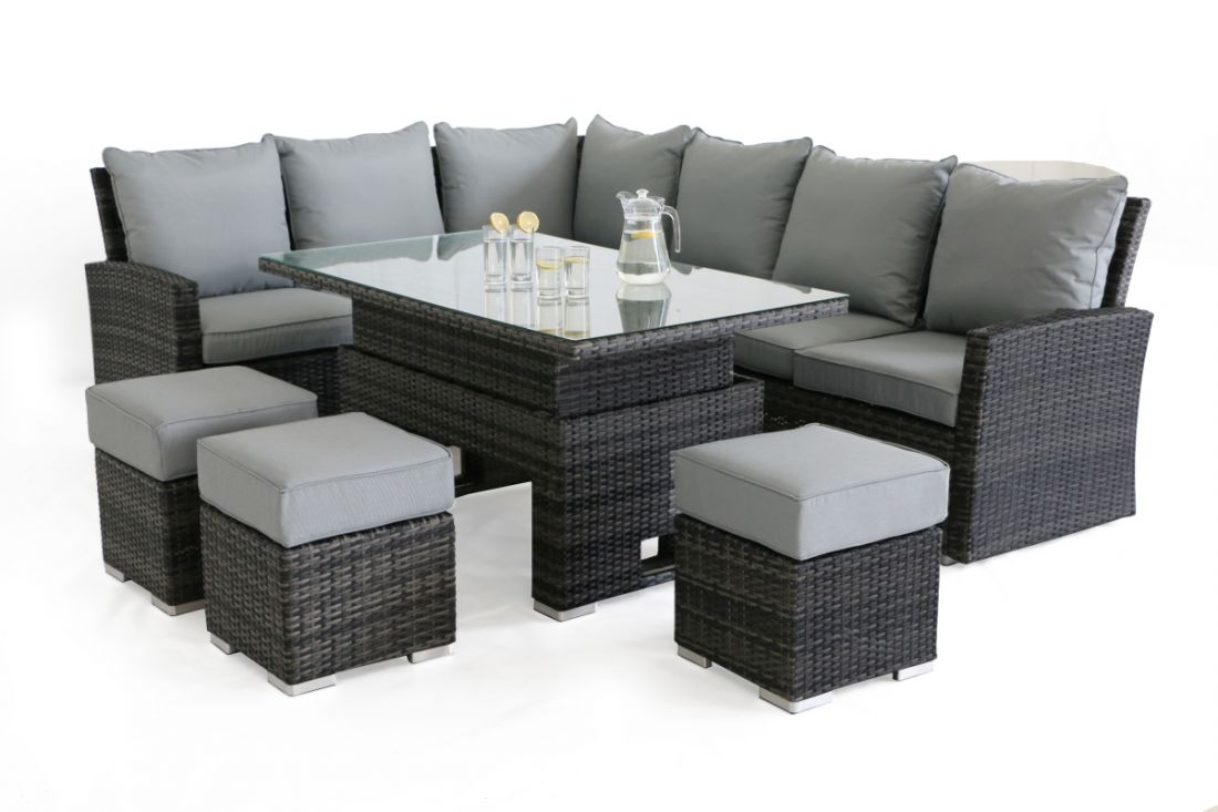 **RESERVE MET**Rattan Kingston Corner Dining Set With Rising Table (Grey) *BRAND NEW* - Image 4 of 5