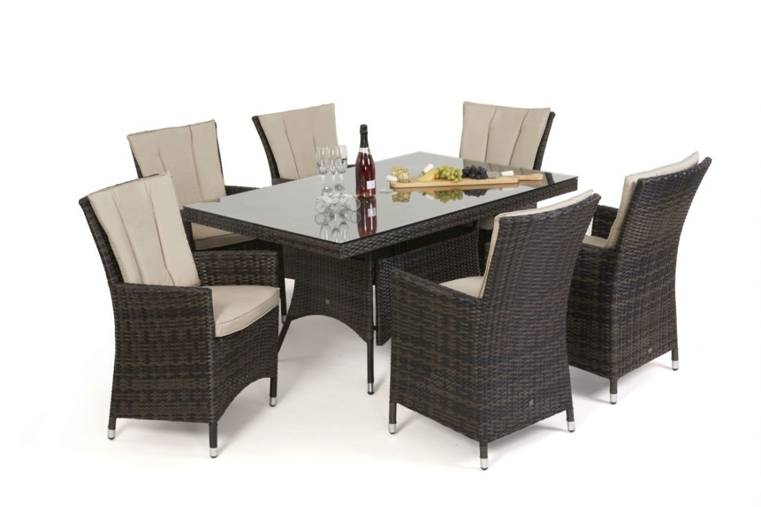 Rattan LA 6 Seat Rectangular Dining Set With Parasol (Brown) *BRAND NEW* - Image 3 of 3