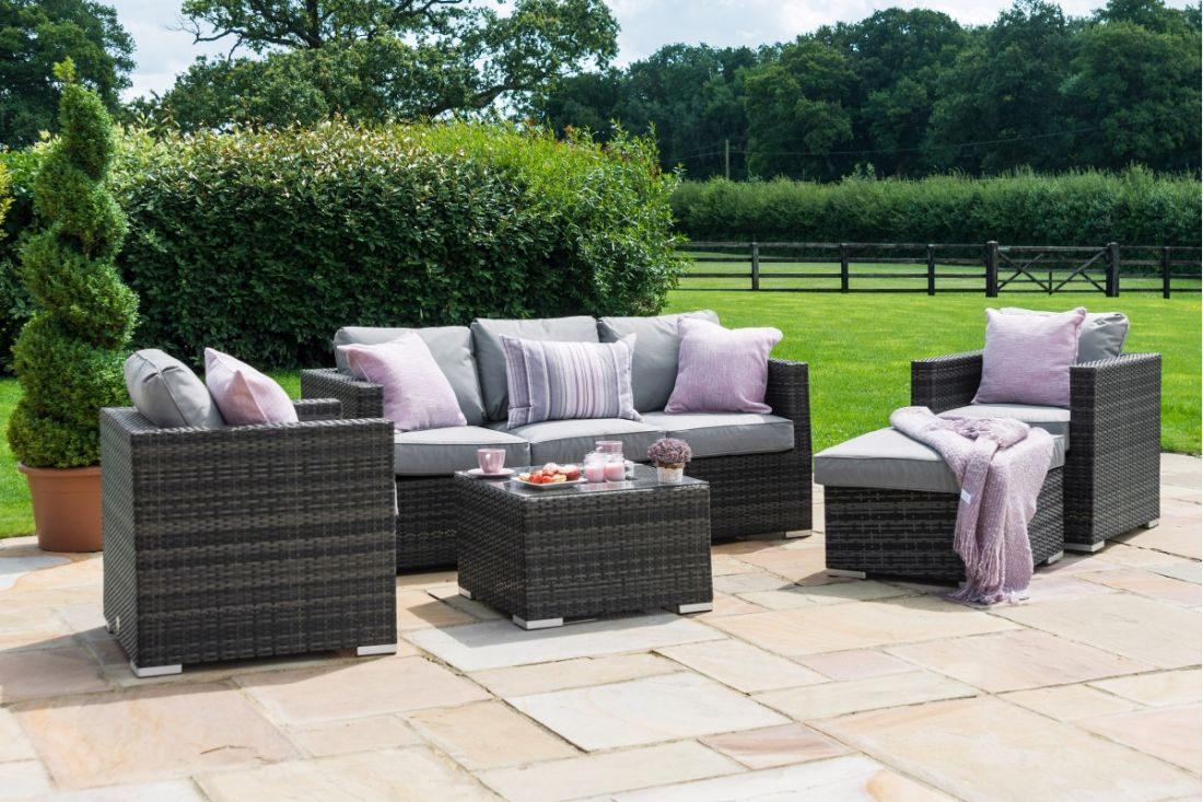 *RESERVE MET* Rattan Georgia 3 Seat Sofa Set With Ice Bucket Feature (Grey) *BRAND NEW* - Image 2 of 4