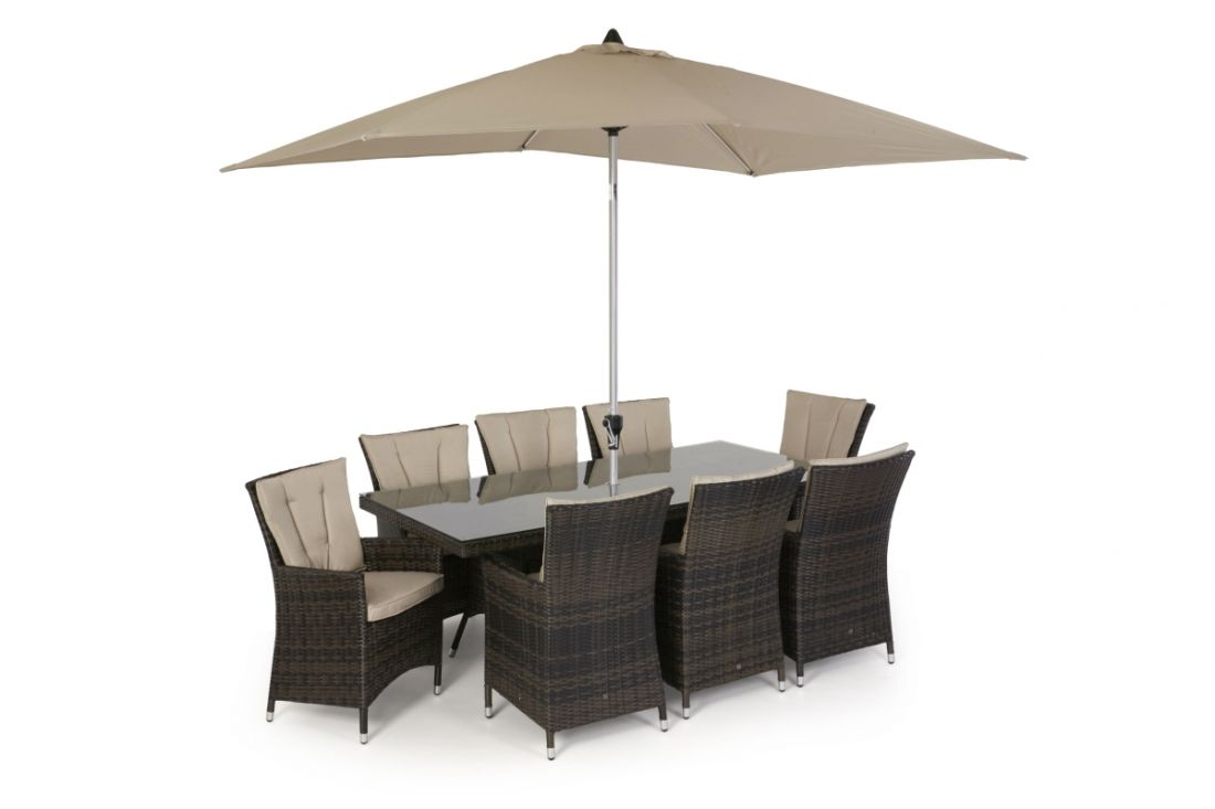Rattan LA 8 Seat Rectangular Dining Set With Parasol (Brown) *BRAND NEW*