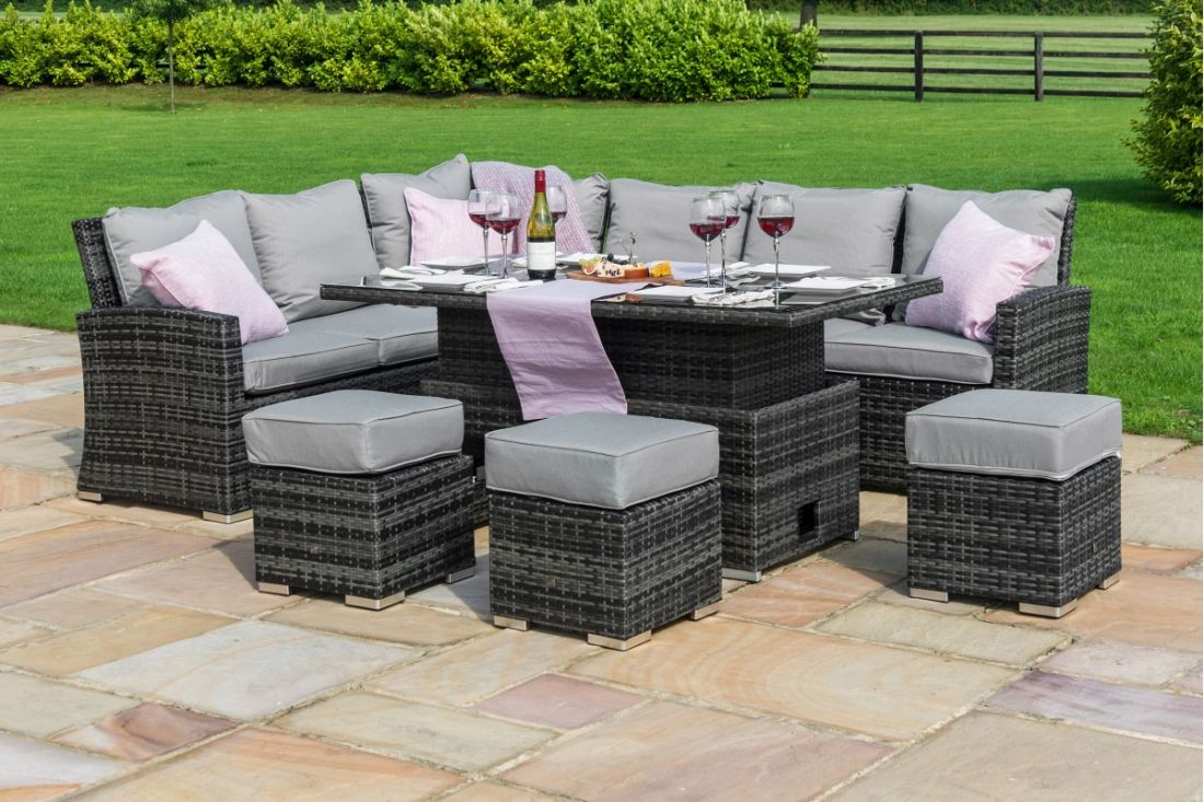**RESERVE MET**Rattan Kingston Corner Dining Set With Rising Table (Grey) *BRAND NEW* - Image 2 of 5