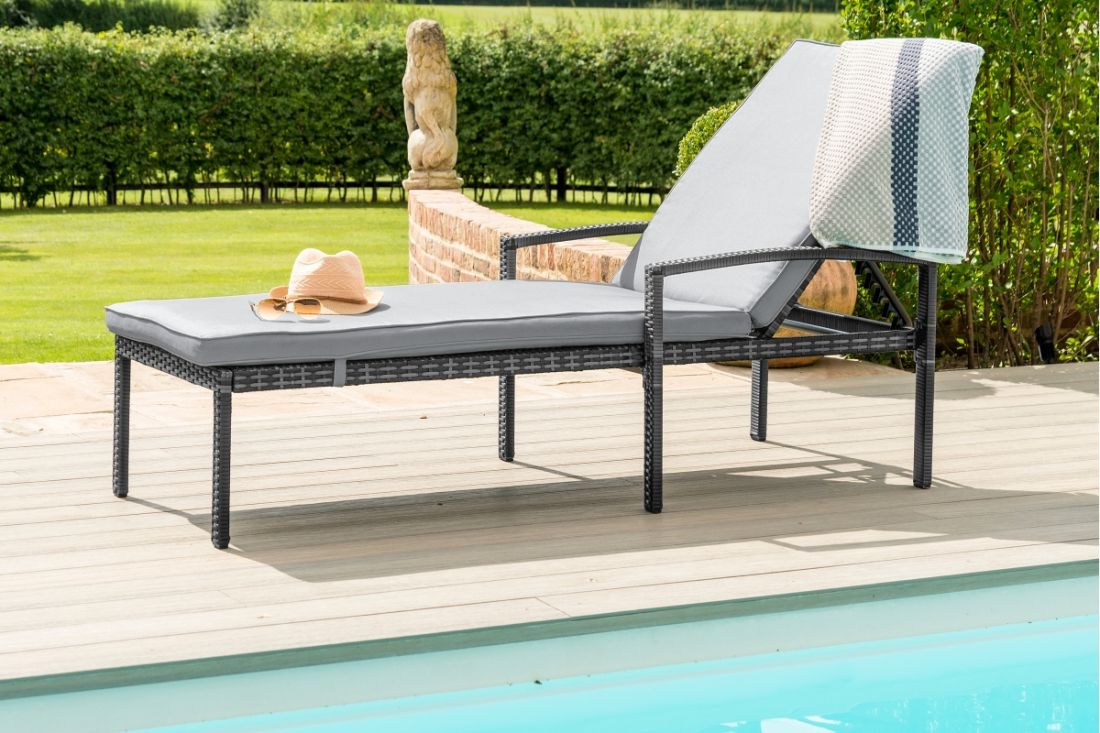 Rattan Austin Sun Lounger (Grey) *BRAND NEW*