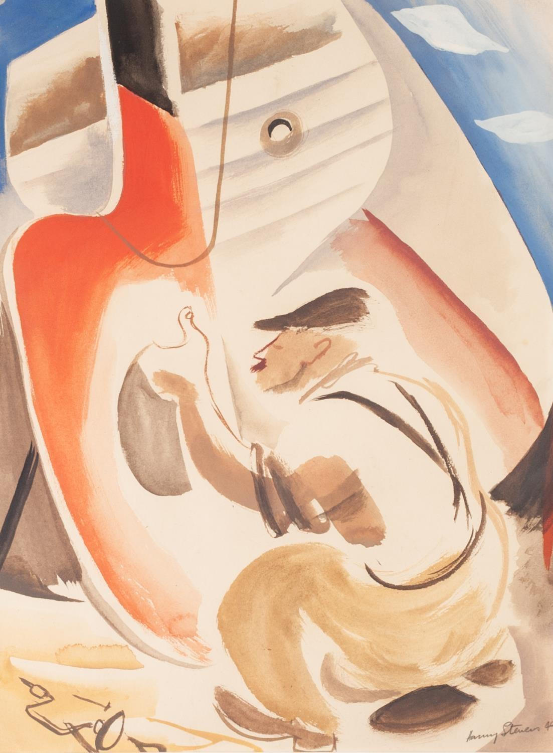 HARRY STEVENS (1919-2008) WATERCOLOUR DRAWING 'The Broken Rudder' Signed and dated (19)49, titled to