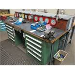 LOT - 3 LEGGED TEST TABLE, W/ (10) PSI GAUGES FROM 30 TO 3000 PSI (VIDMAR CABINETS ARE NOT