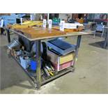 "WELDING TABLE, 6-1/2"" X 4', 1/2"" STEEL TOP, W/ 6"" BENCH VISE"