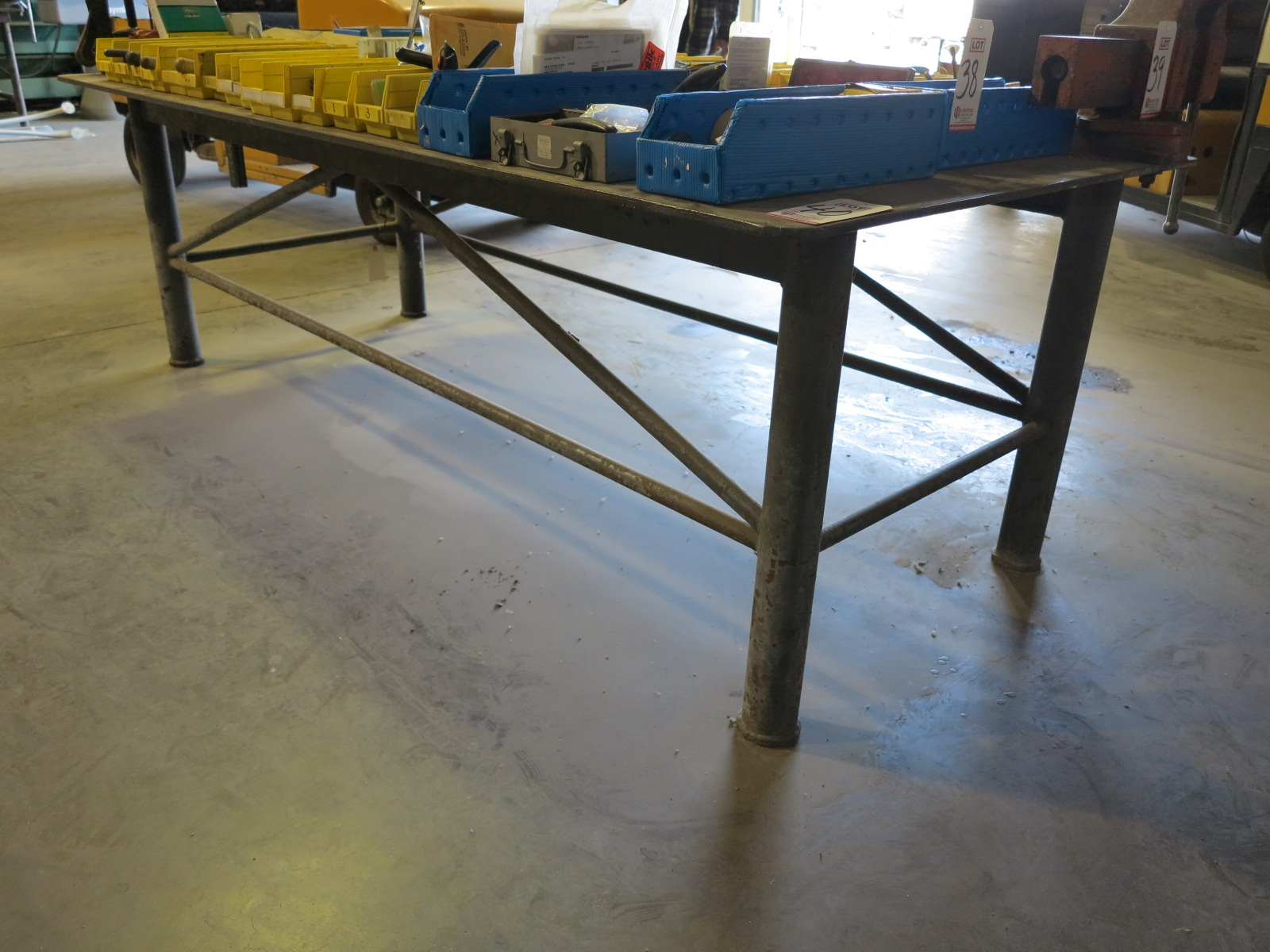 """WELDING/FABRICATION TABLE, 8'-5"""" X 48"""", 1/2"""" STEEL TOP, TOOLS ON TOP NOT INCLUDED"""