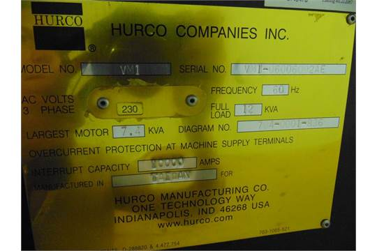 2002 Hurco VM1 16 position automatic tool changer, Max CNC controls