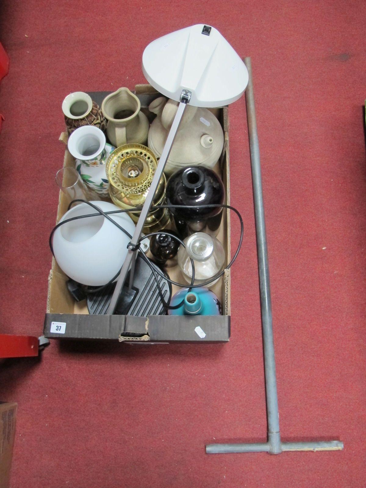 Lot 37 - A Desk Lamp, (untested sold for parts), vases, bottles, etc:- One Box; A Mattson Mora Sweden Soil