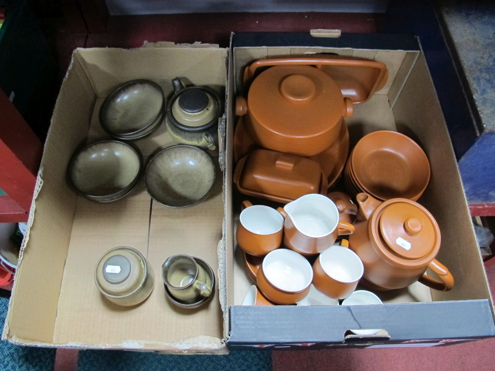 """Lot 57 - Denby """"Romany"""" Table Ware, of nine pieces, including teapot, Honiton pottery terracotta coloured"""