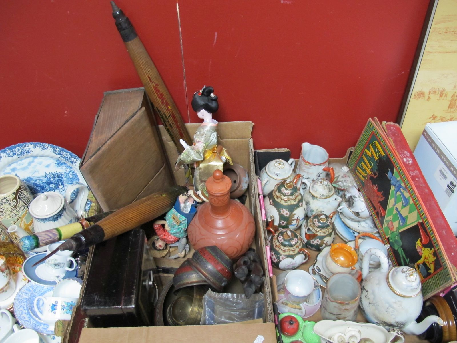 Lot 6 - Middle Eastern Brassware, pottery, costume dolls, metal cash tin, game of 'Halma', oriental