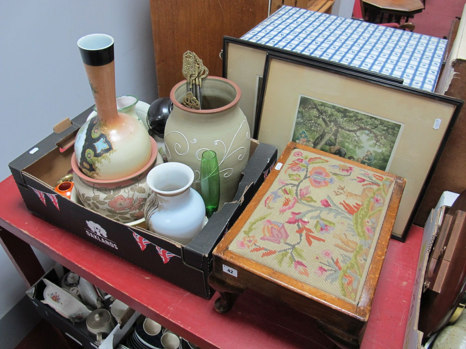 Lot 42 - Stoneware Vase, glass vases, Doulton vase, Poole pin dish etc:- One Box, together with two