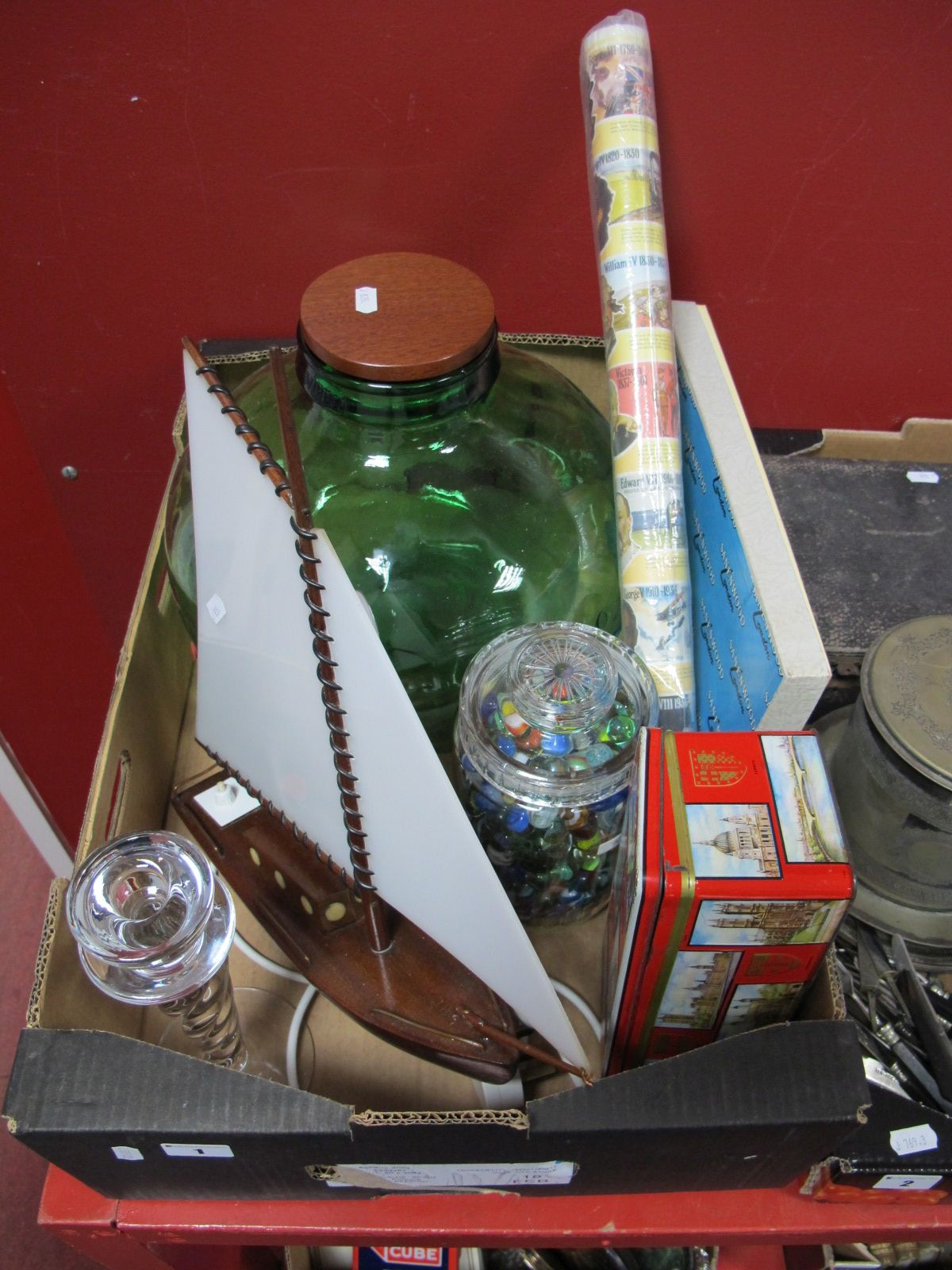 Lot 1 - Marbles, carboy, Sanenwood bread board and knife (boxed), mahogany lamp as a yacht,