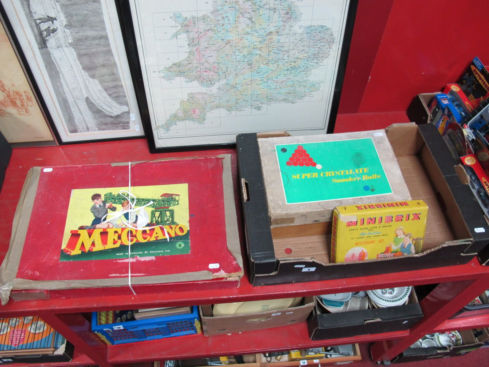 Lot 9 - A 1950's Meccano Mechanisms Set, Minibrix Accessory Set, Super Crystalate snooker balls (boxed), and