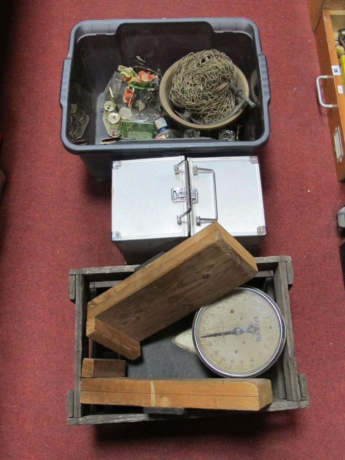 Lot 16 - Salter Scales, net, glassware, crate, metal travelling case, etc.