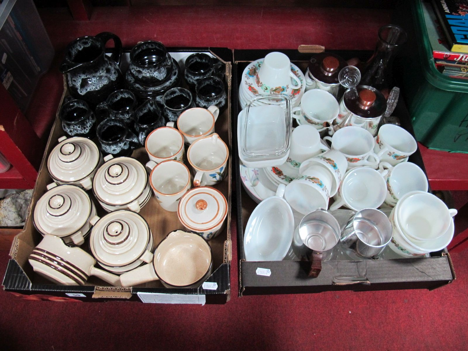 Lot 59 - Denby Soup Dishes and Covers, a Denby style pottery six place tea service of mottled grey on a black