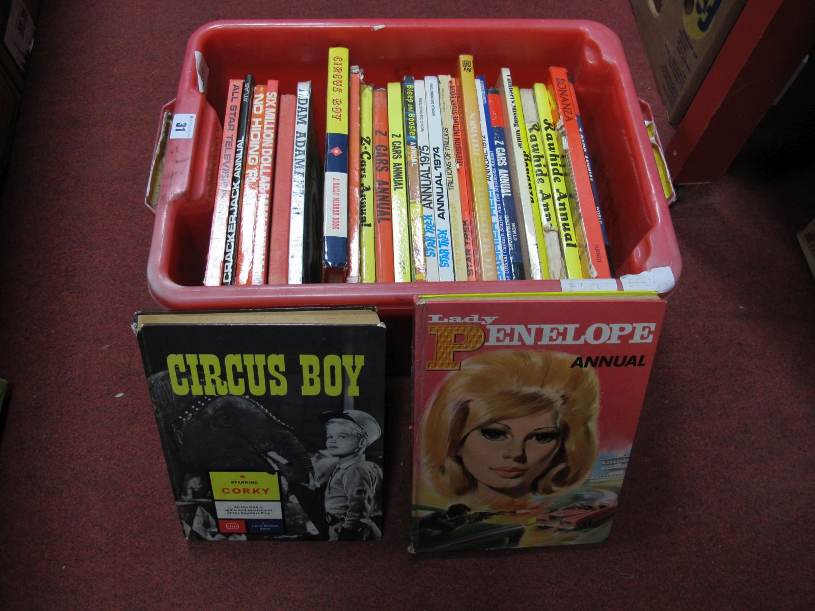 Lot 31 - A Quantity of Mainly 1960's TV Related Annuals, including Z Cars, Lady Penelope, and Circus Boy.