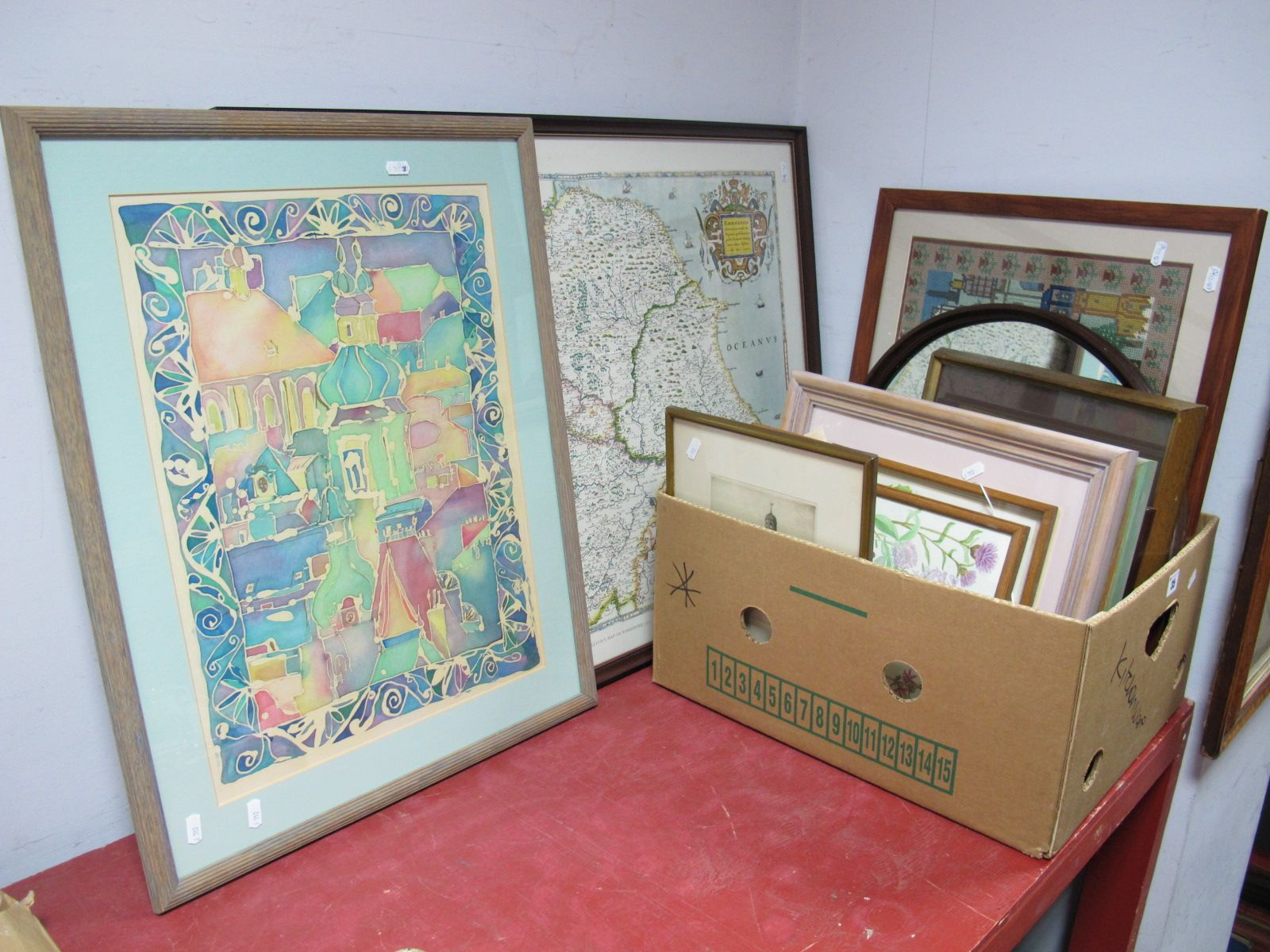 Lot 35 - A Quantity of Prints, painting on fabric, needlework, map, mirror, etc.