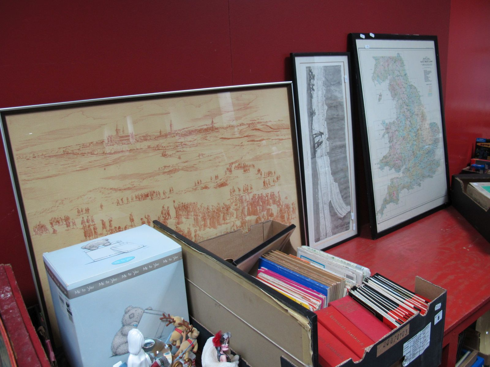 Lot 8 - Maps, Whitakers Almanacks, prints:- One Box; large Orographical Map.