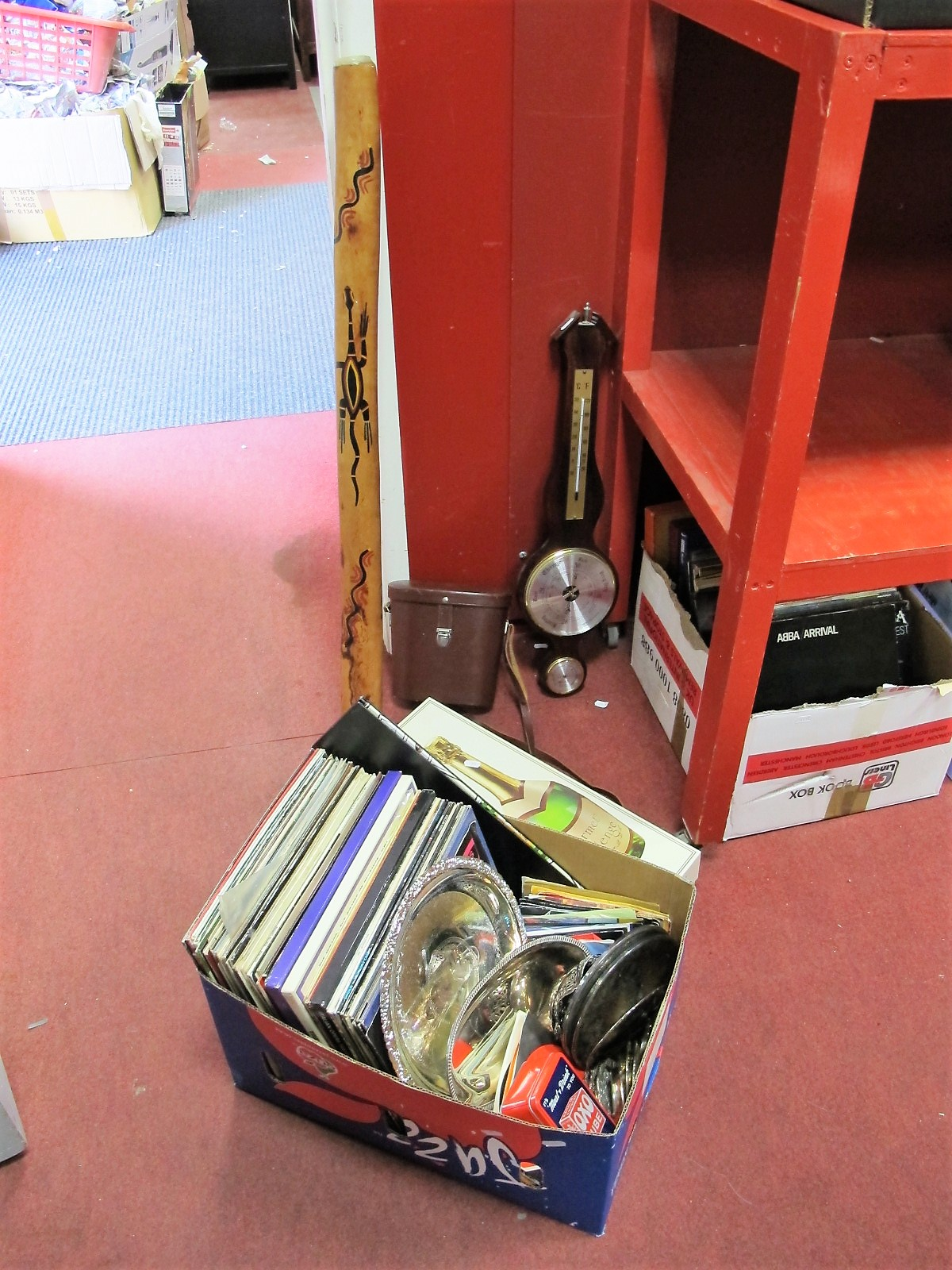 Lot 23 - Stainless Steel and Plated Salvers, coasters, digeridoo, LP's and 45rpm records, Gourmet table