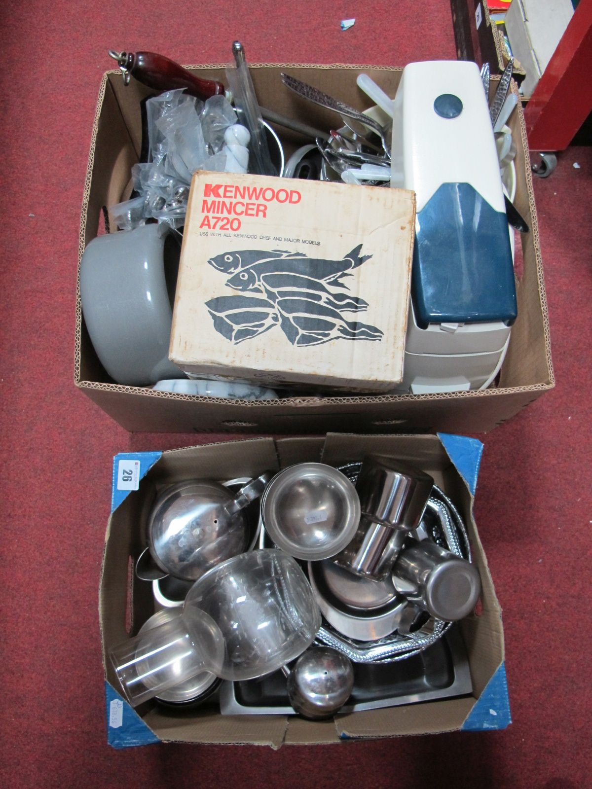 Lot 26 - Kings Pattern and Viners Electroplated and Stainless Steel Cutlery, Kenwood Chef mincer, stainless