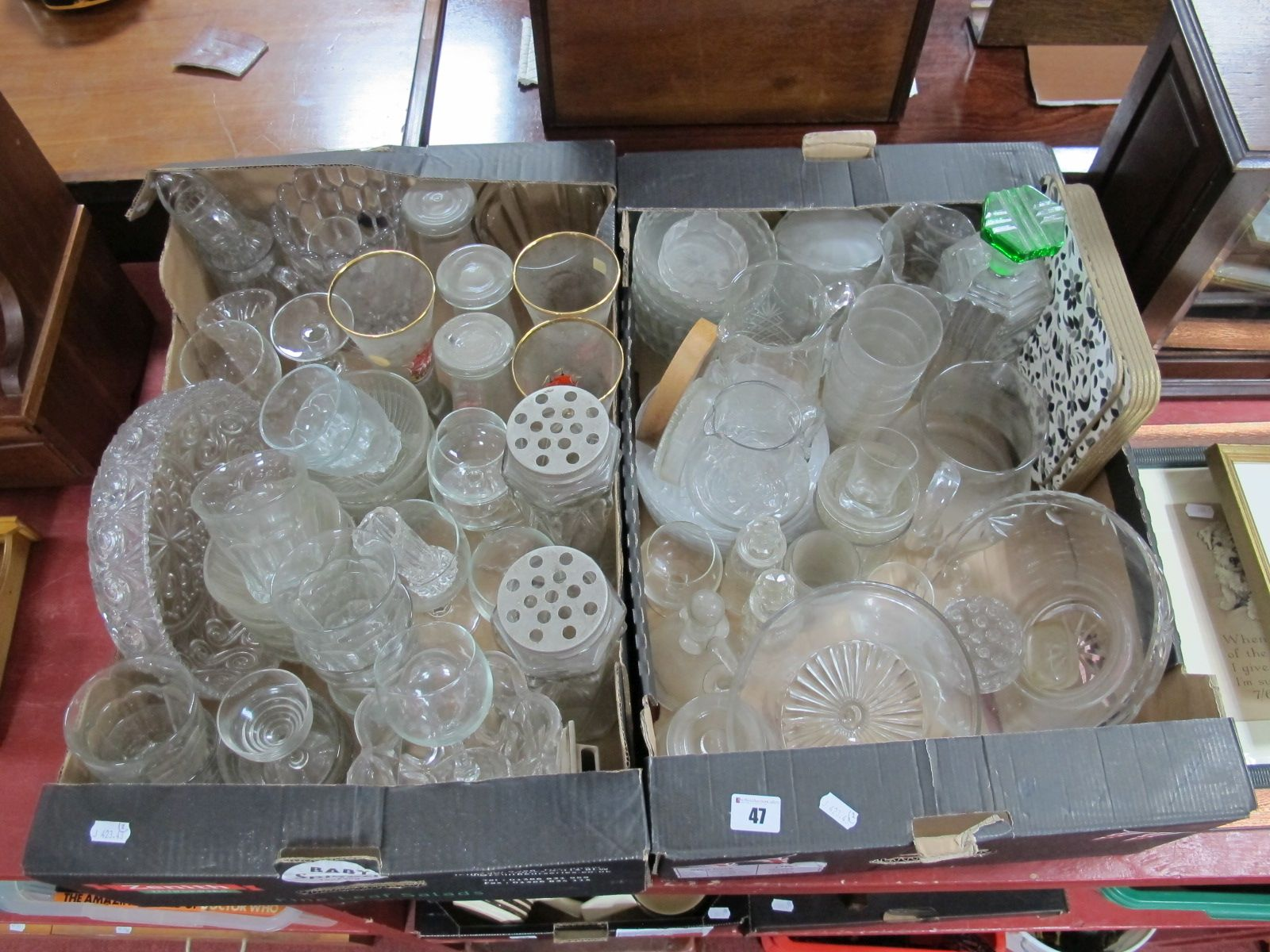 Lot 47 - Two Boxes of Cut and Pressed Glassware.