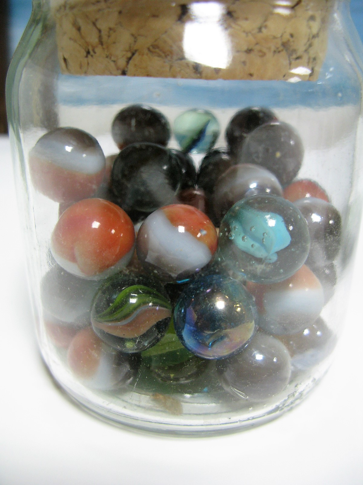 Lot 43 - Marbles, glassware, ceramics, wall clock, etc:- Two Boxes