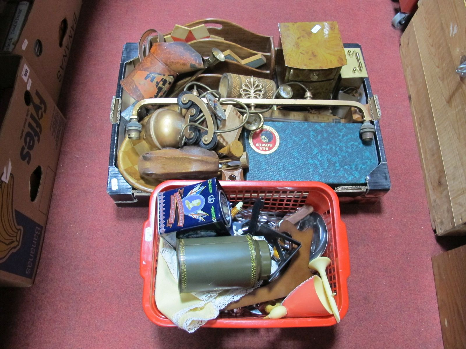 Lot 20 - A Ceiling Light, carpet bowls, oil can, clock, cutlery, etc:- Two Boxes