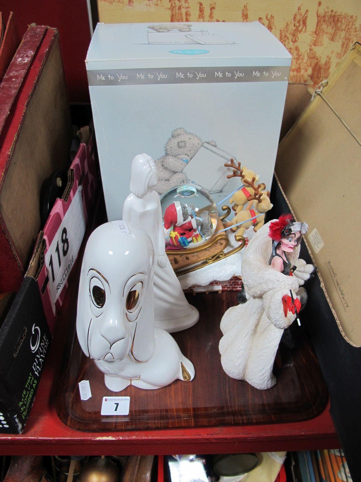 Lot 7 - 'Me to You' Snow Globe, Disney Cruella De Vil, Pauline Shone 'Georgina' and ceramic dog:- One Tray