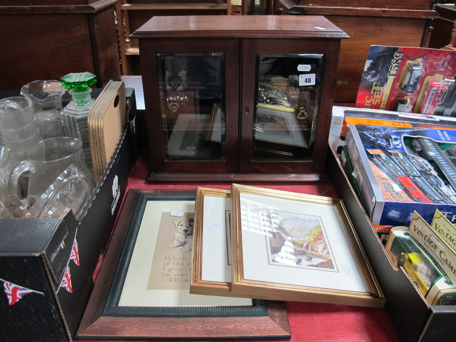 Lot 48 - An Edwardian Smokers Cabinet, pair of watercolours and Mac terrier print. (4)