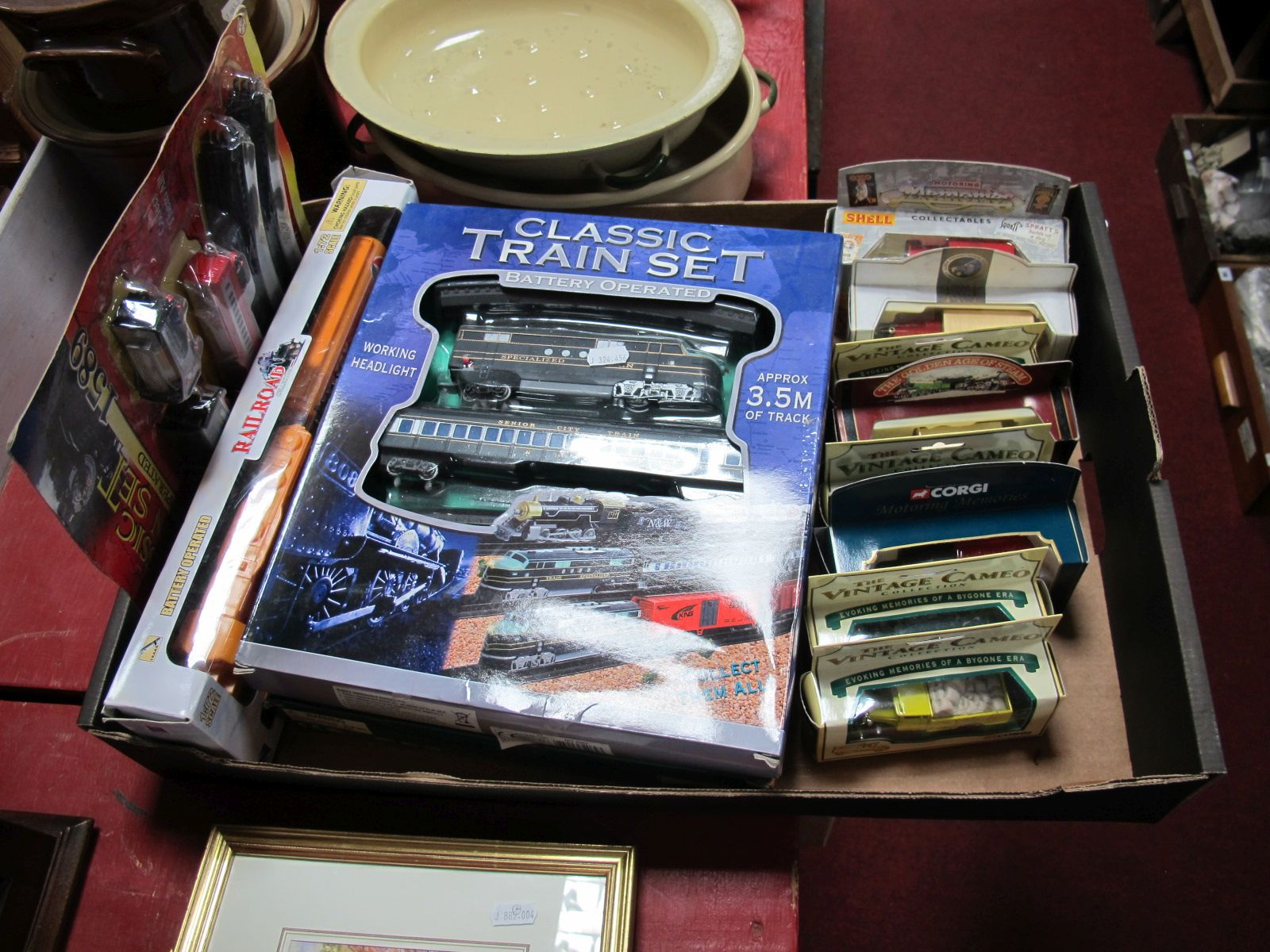 Lot 49 - Four Boxed Plastic Train Sets, by New Ray, Kandy Toys, Fenfa, together with eight diecast commercial