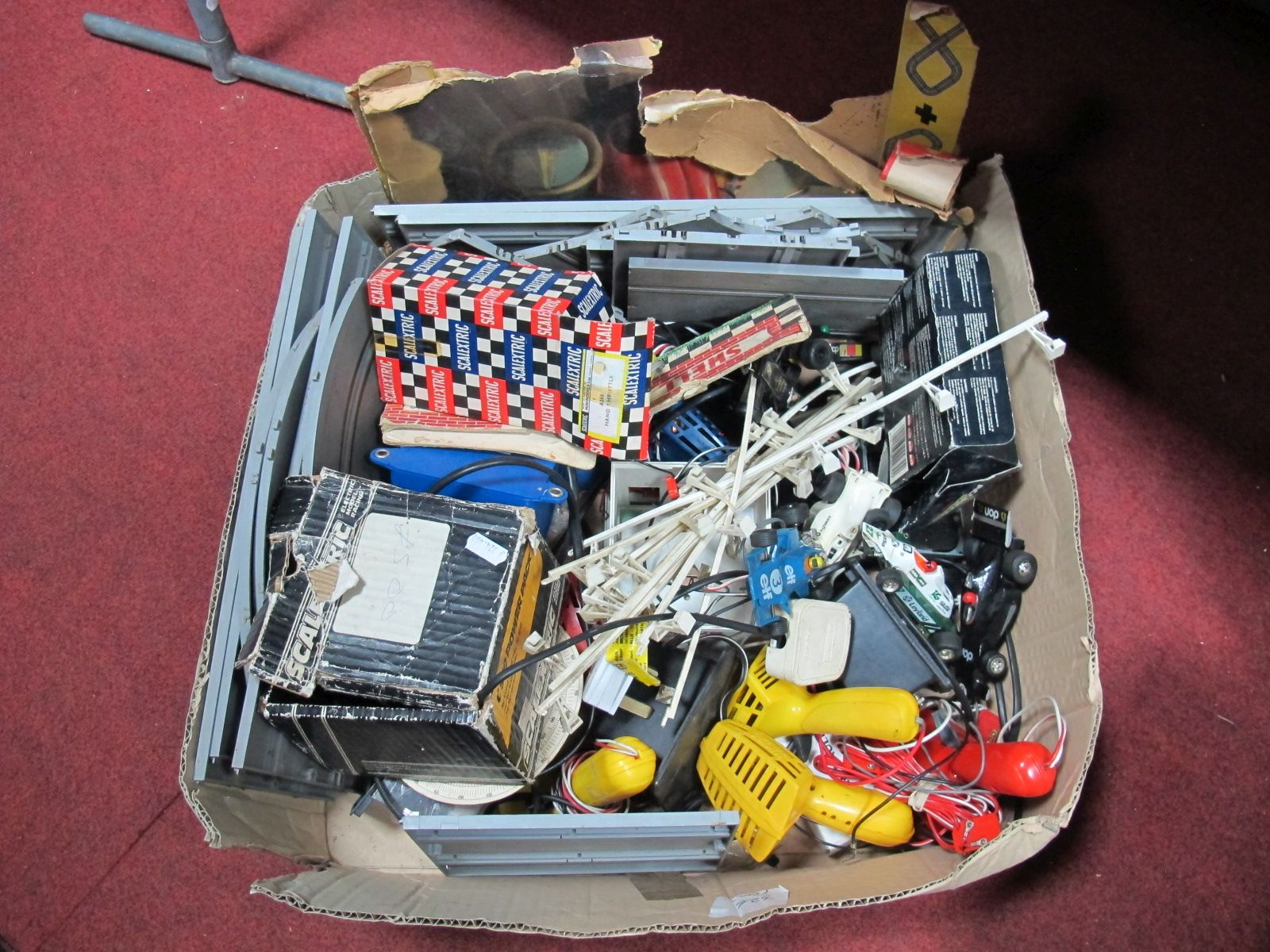 Lot 41 - A Quantity of Playworn Scalextric Accessories, including Formula One cars, track, barriers and