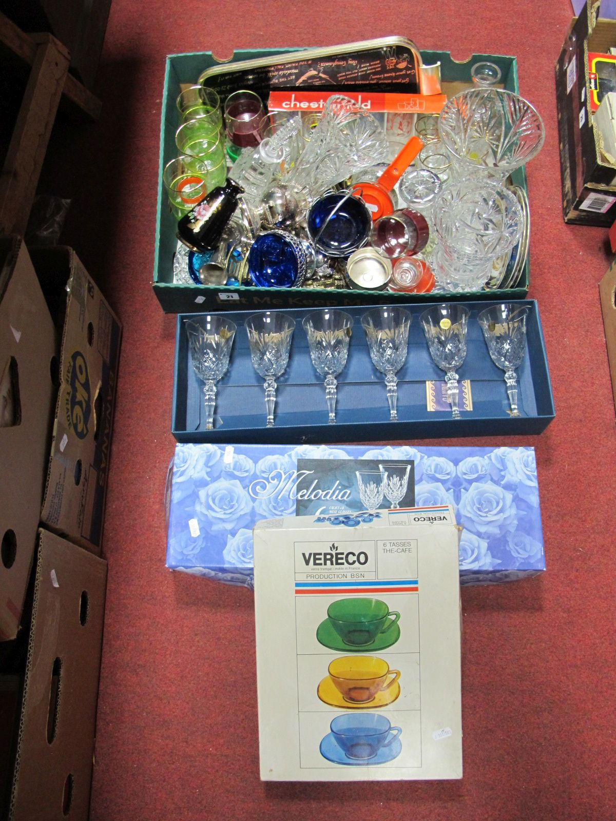 Lot 21 - A Decanter, vases, Woodmet tray, glassware, brass and plated wares:- One Box; Melodia glasses,