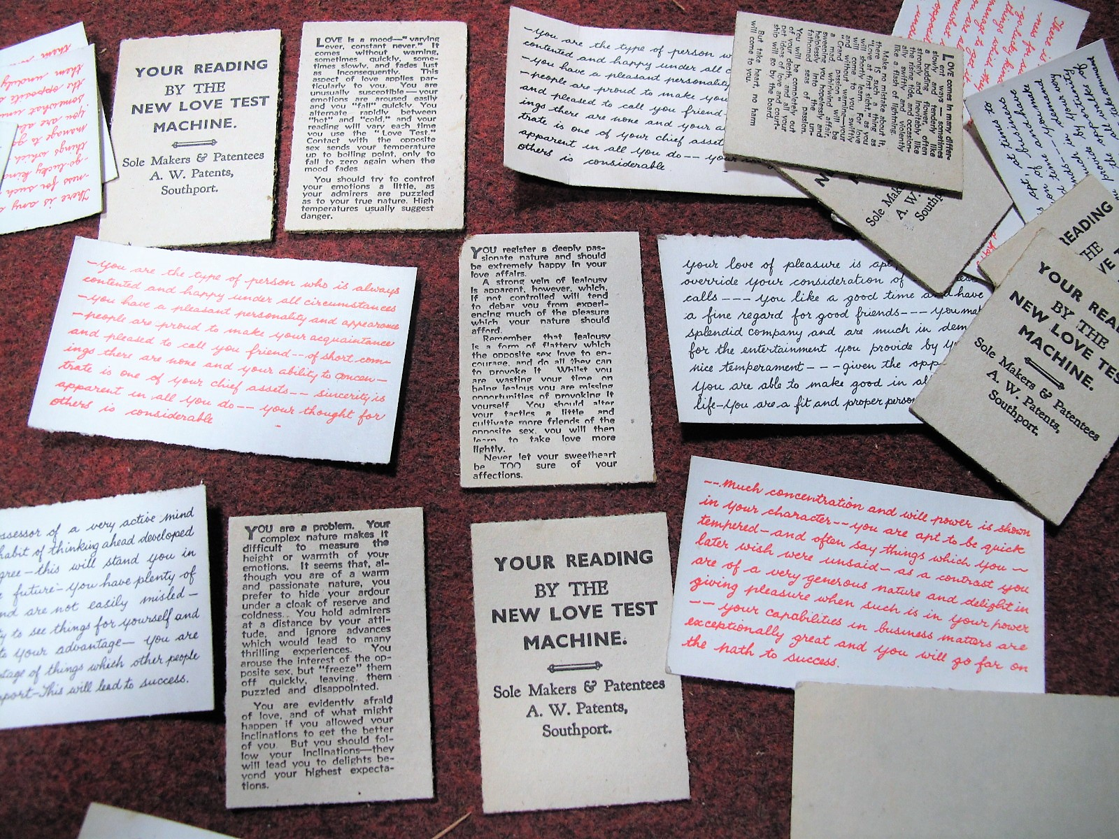 "Lot 33 - Vintage Fairground Memorabilia- A Large Quantity of Fortune Cards, including ""YOUR READING BY THE"