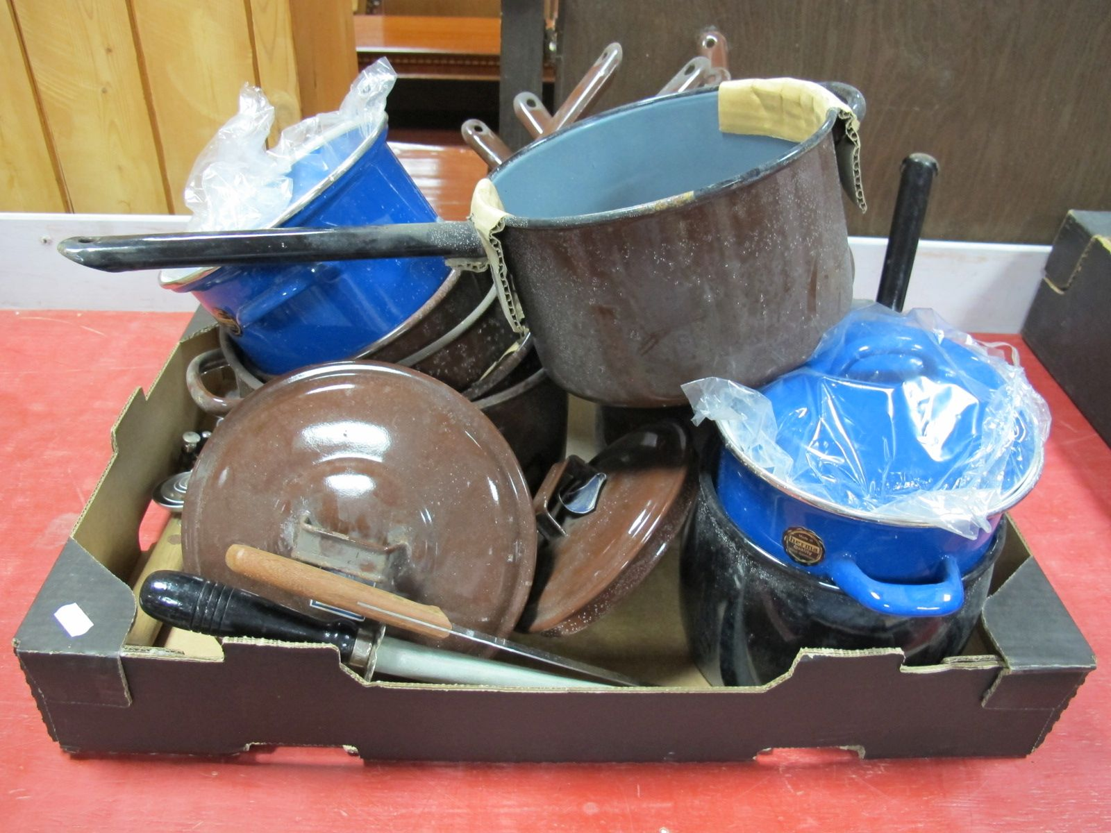 Lot 52 - Judge Brown Saucepans, Herma blue tureens, etc:- One Box