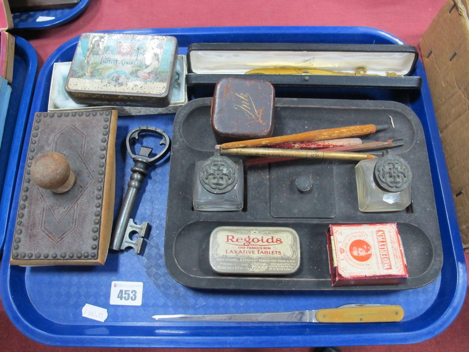 Lot 453 - A Jennens & Bettridge Desk Stand, travel inkwell, Waverley pen nibs, Alfred Howard & Co. letter