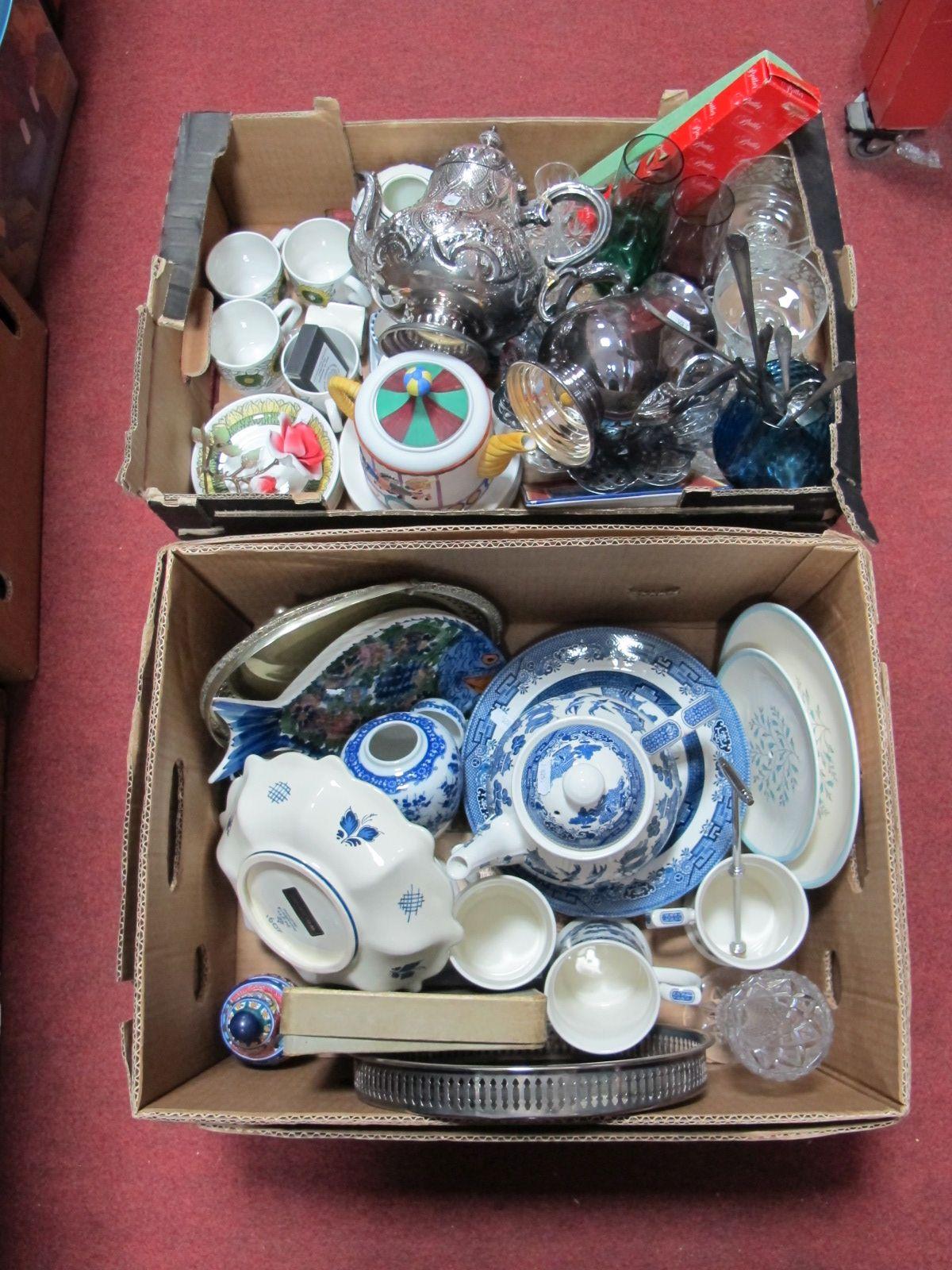 Lot 29 - Churchill Willow Dinner Ware, Swinnerton's cake stand, plated teapots, Christopher Wren teapot,