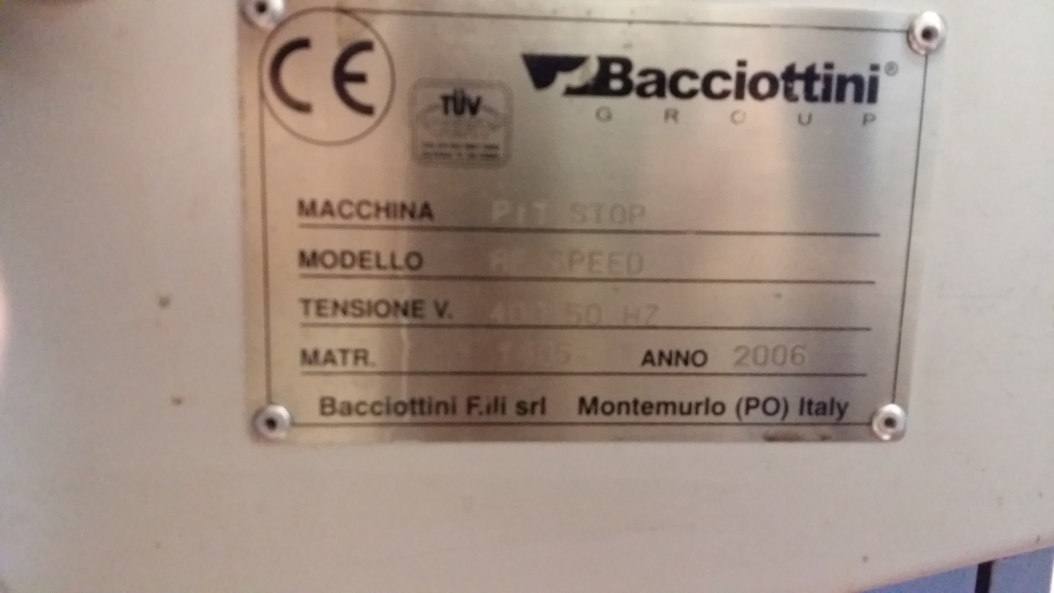 Lot 006 - Bacciottini Pit Stop AF speed creasing machine