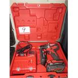 MILWAUKEE M18 2801-20 18V BATTERY DRILL W/ CHARGER, (2) BATTERIES & CASE